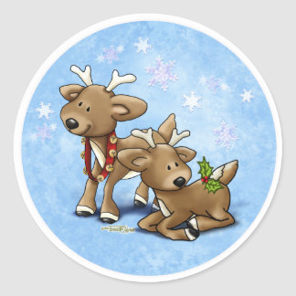 Navidad del reno pegatina redonda