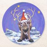 Navidad del reno posavasos de cartón redondo