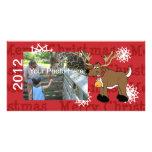 Navidad del reno tarjetas fotográficas personalizadas
