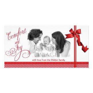 Navidad del rojo de la comodidad y de la alegría tarjetas fotográficas