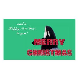 Navidad del salto del espía de la ballena de la or tarjetas de visita