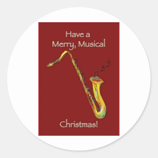 Navidad del saxofón pegatina redonda