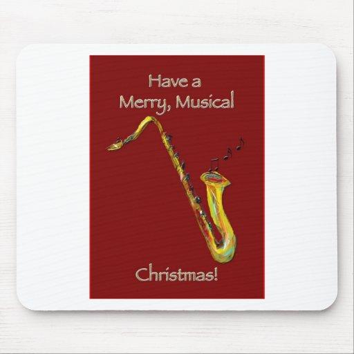 Navidad del saxofón tapete de ratón