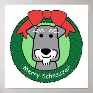 Navidad del Schnauzer de Miniture Poster