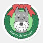 Navidad del Schnauzer gigante Etiquetas Redondas