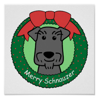 Navidad del Schnauzer miniatura Poster