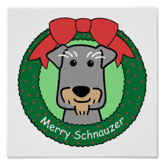 Navidad del Schnauzer miniatura Posters