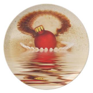 Navidad del Seashell Plato De Comida