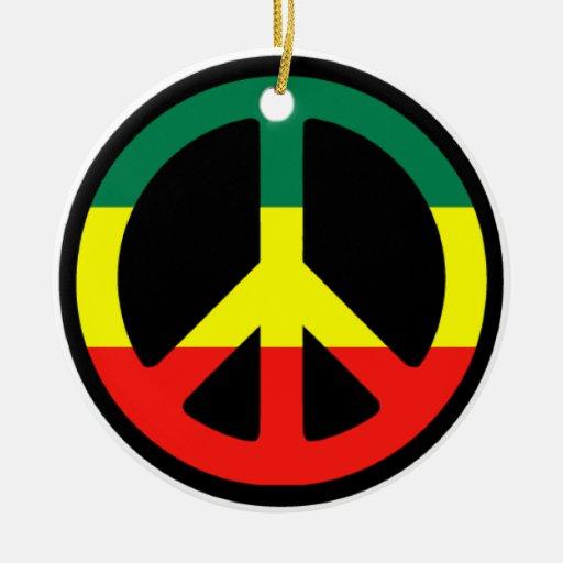 Navidad del signo de la paz de Rasta Adorno Redondo De Cerámica