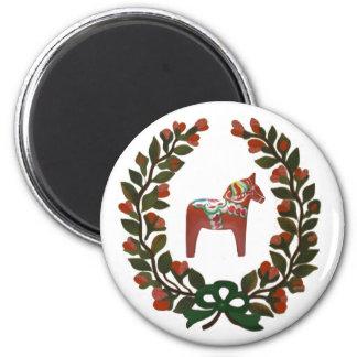 Navidad del sueco de la guirnalda del caballo de imán redondo 5 cm