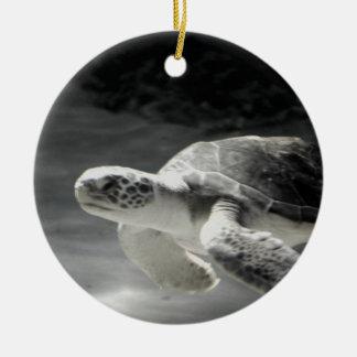 Navidad del tanque de la tortuga adorno redondo de cerámica