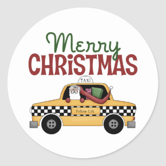 Navidad del taxista etiqueta redonda