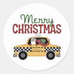 Navidad del taxista pegatina redonda