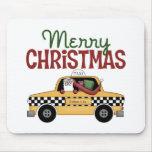 Navidad del taxista tapete de ratón