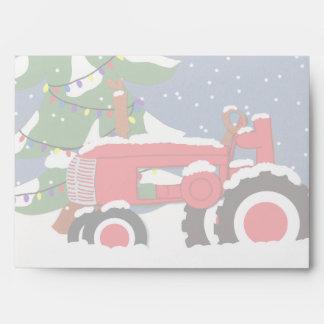 Navidad del tractor sobre de 5 x 7 invitaciones