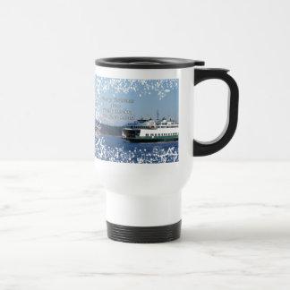 Navidad del transbordador del puerto de viernes bu tazas de café