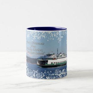 Navidad del transbordador del puerto de viernes bu taza