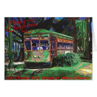 Navidad del tranvía tarjeta de felicitación