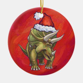 Navidad del Triceratops en rojo Adorno Navideño Redondo De Cerámica