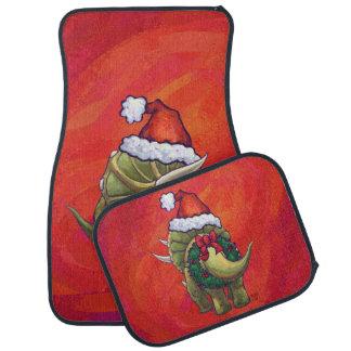 Navidad del Triceratops en rojo Alfombrilla De Auto