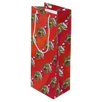 Navidad del Triceratops en rojo Bolsa De Regalo Para Vino