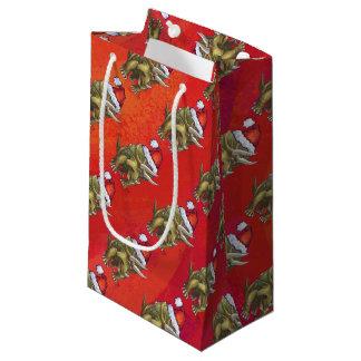 Navidad del Triceratops en rojo Bolsa De Regalo Pequeña