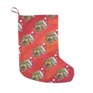 Navidad del Triceratops en rojo Calcetín De Navidad Pequeño