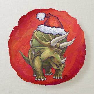 Navidad del Triceratops en rojo Cojín Redondo