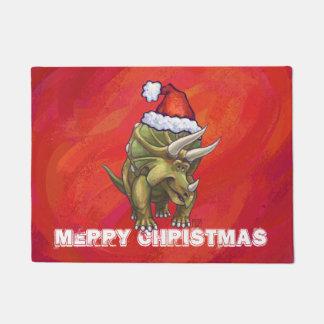 Navidad del Triceratops en rojo Felpudo
