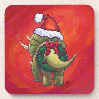 Navidad del Triceratops en rojo Posavasos De Bebidas