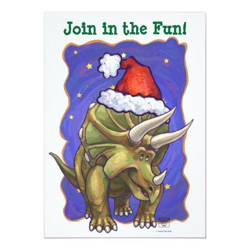 """Navidad del Triceratops Invitación 5"""" X 7"""""""