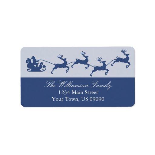 Navidad del trineo de Santa de la silueta (azules  Etiquetas De Dirección