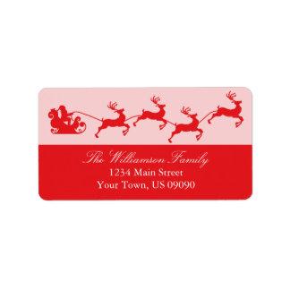 Navidad del trineo de Santa de la silueta (rojo) Etiquetas De Dirección