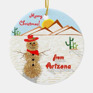 Navidad del Tumbleweed de Arizona Adorno Navideño Redondo De Cerámica