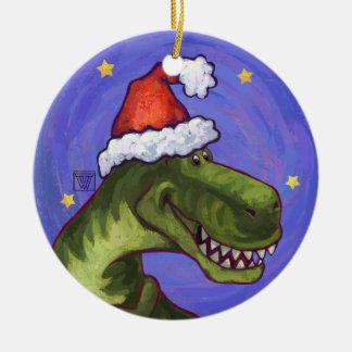 Navidad del Tyrannosaurus Adorno Navideño Redondo De Cerámica