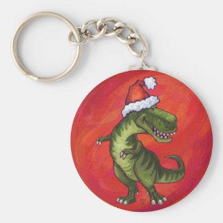 Navidad del Tyrannosaurus en rojo Llavero Redondo Tipo Pin