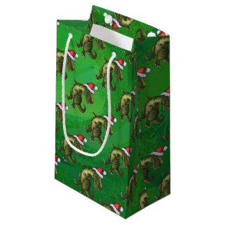 Navidad del Tyrannosaurus en verde Bolsa De Regalo Pequeña