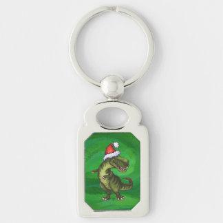 Navidad del Tyrannosaurus en verde Llavero Plateado Rectangular