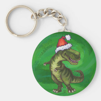 Navidad del Tyrannosaurus en verde Llavero Redondo Tipo Pin