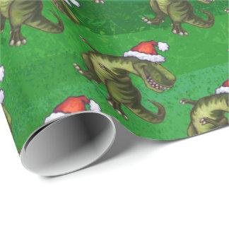 Navidad del Tyrannosaurus en verde Papel De Regalo