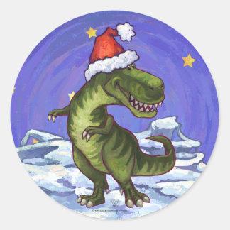 Navidad del Tyrannosaurus Pegatina Redonda