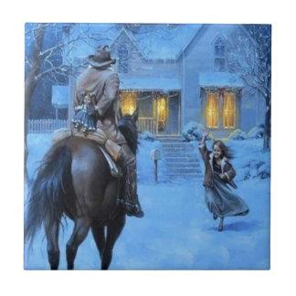 Navidad del vaquero del vintage azulejo cuadrado pequeño