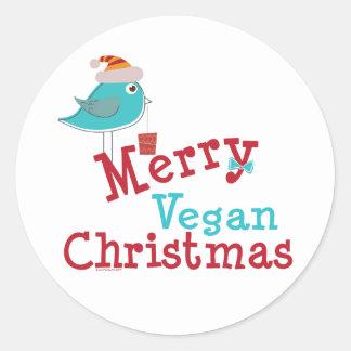 Navidad del vegano pegatinas redondas