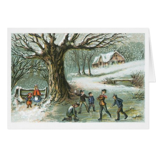Navidad del Victorian del vintage de la lucha de Tarjeta Pequeña