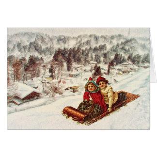 Navidad del Victorian Nevado del vintage por el ma Tarjeta De Felicitación