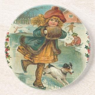 Navidad del Victorian Posavasos Para Bebidas