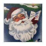 Navidad del vintage, 50s Papá Noel alegre retro Azulejo Cuadrado Pequeño