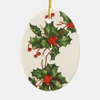 Navidad del vintage acebo con las bayas