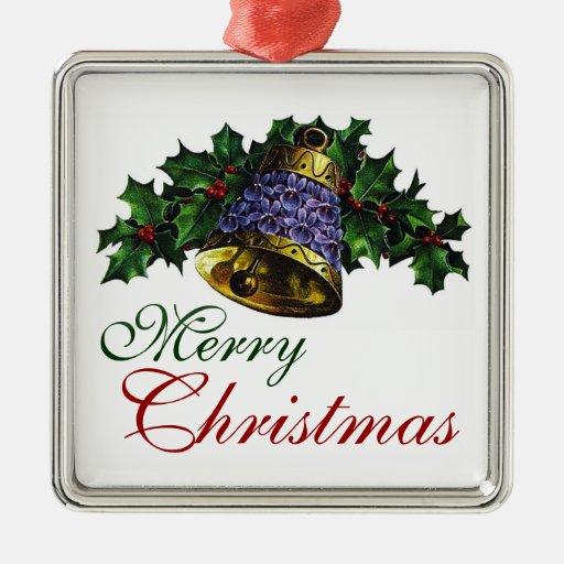 Navidad del vintage adorno cuadrado plateado