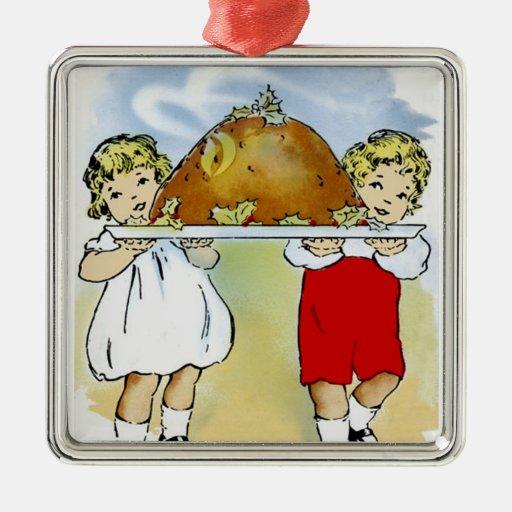 Navidad del vintage adorno navideño cuadrado de metal